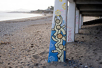 Street art grafitti on ruin building at Killiney Beach in Dublin Ireland