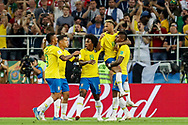 Paulinho of Brazil celebrates his goal with teammates during the 2018 FIFA World Cup Russia, Group E football match between Erbia and Brazil on June 27, 2018 at Spartak Stadium in Moscow, Russia - Photo Thiago Bernardes / FramePhoto / ProSportsImages / DPPI