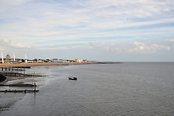 View of Southend seafront from the pier, Essex UK