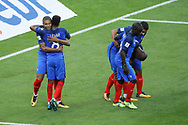 Kylian MBAPPE (FRA) scored a goal and celebration with Thomas LEMAR (FRA), Djibril SIDIBE (FRA), N Golo KANTE (FRA), Nabil FEKIR (FRA) during the FIFA World Cup Russia 2018, Qualifying Group A football match between France and Netherlands on August 31, 2017 at Stade de France in Saint-Denis, France - Photo Stephane Allaman / ProSportsImages / DPPI