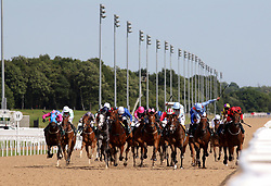 Higher Power ridden by Tom Queally (centre right) before winning the Stobart Rail Northumberland Plate Handicap during the Betfred Northumberland Plate Day at Newcastle Racecourse.