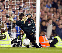 Photo: Chris Ratcliffe.<br />Chelsea v Charlton Athletic. Carling Cup.<br />26/10/2005.<br />Stephen Anderson saves Robert Huths penalty