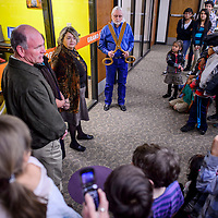 111414       Cable Hoover<br /> <br /> City councilor Alan Landavazo, left, library director Mary Ellen Pellington and Gallup mayor Jack McKinney prepare to cut the ribbon during the grand opening of the new Navajo Language Room at the Children's Library in Gallup Saturday.