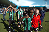 Photo: Tony Oudot/Richard Lane Photography. <br /> Gilingham Town v Swansea City. Coca-Cola League One. 12/04/2008. <br /> Febian Brandy and Darren Way of Swansea celebrate their promotion