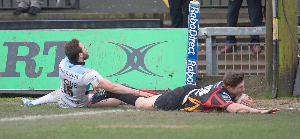 Newport Gwent Dragon's Ross Wardle scores his sides third try <br /> <br /> Photo by Simon King/CameraSport<br /> <br /> Rugby Union - RaboDirect PRO12 - Newport Gwent Dragons v Glasgow Warriors - Sunday 23rd February 2014 - Rodney Parade - Newport<br /> <br /> © CameraSport - 43 Linden Ave. Countesthorpe. Leicester. England. LE8 5PG - Tel: +44 (0) 116 277 4147 - admin@camerasport.com - www.camerasport.com