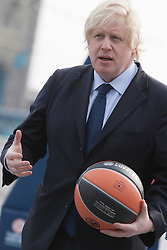 © Licensed to London News Pictures. 08/04/2013. London, England. London Mayor Boris Johnson promotes the 2013 Turkish Airlines Euroleague Final Four to be played at The O2 from 10th - 12th May 2013, and to reveal the programme of free activities that will take place in conjunction with the event to get Londoners involved with basketball. Photo credit: Bettina Strenske/LNP