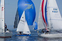 Largs Regatta Festival 2019<br /> <br /> GP 14, 13460, in amongst some of the bigger boats at Portachur Spit Buoy.