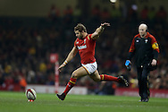 Leigh Halfpenny of Wales kicks a penalty . Under Armour 2016 series international rugby, Wales v South Africa at the Principality Stadium in Cardiff , South Wales on Saturday 26th November 2016. pic by Andrew Orchard, Andrew Orchard sports photography