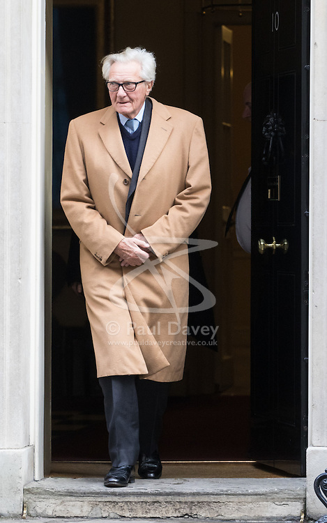 Downing Street, London, February 7th 2017. Lord Michael Hesseltine leaves 10 Downing Street after a brief visit.