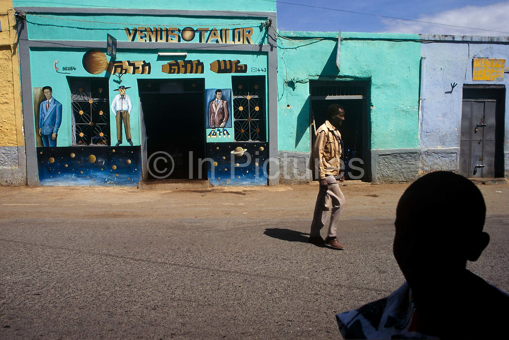 """The """"Venus Tailor"""" shop in the ancient walled city  of Harar, Situated in Eastern Ethiopia it is considered to be the fourth  holiest city in Islam with 82 mosques. It is a major commercial centre linked by trade routes with the rest of Ethiopia and the entire Horn of Africa.  Ethiopia"""