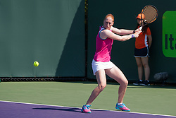March 20, 2018 - Key Biscayne, FL, U.S. - KEY BISCAYNE, FL - MARCH 20: Alison Van Uytvanck (BEL) competes during the qualifying round of the 2018 Miami Open on March 20, 2018, at Tennis Center at Crandon Park in Key Biscayne, FL. (Photo by Aaron Gilbert/Icon Sportswire) (Credit Image: © Aaron Gilbert/Icon SMI via ZUMA Press)
