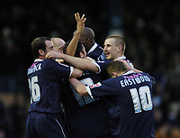 Photo: Olly Greenwood.<br />Southend United v West Bromwich Albion. Coca Cola Championship. 01/01/2007. Southend's Lewis Hunt celebrates with his team mates putting Southend 3-0 up