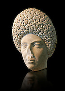 Roman portrait bust of a flavian women possibly Domita, circa 69-96 AD excavated from Terracina. This portrait can be dated from the typical hairstyle made popular by Flavian women. It may be of Domitia Longina who was  wife to the Roman Emperor Domitian. The National Roman Museum, Rome, Italy .<br /> <br /> If you prefer to buy from our ALAMY PHOTO LIBRARY  Collection visit : https://www.alamy.com/portfolio/paul-williams-funkystock/roman-museum-rome-sculpture.html<br /> <br /> Visit our ROMAN ART & HISTORIC SITES PHOTO COLLECTIONS for more photos to download or buy as wall art prints https://funkystock.photoshelter.com/gallery-collection/The-Romans-Art-Artefacts-Antiquities-Historic-Sites-Pictures-Images/C0000r2uLJJo9_s0
