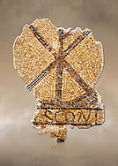 Fifth century Eastern Roman Byzantine  Christian funerary mosaic from Leptis Minus-Lemto in the Roman province of Africa Proconsularis , (Tunisian Sehel Region) dedicated to Cresconius, depicting the Christian Chi-Rho symbol used by the Roman emperor Constantine I as part of his military standard (vexillum). <br /> <br /> The Bardo National Museum, Tunis, Tunisia.