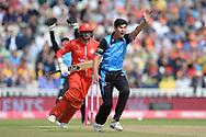 Pat Brown of Worcestershire Rapids appeals unsuccessfully for the wicket of Aaron Lilley during the Vitality T20 Finals Day Semi Final 2018 match between Worcestershire Rapids and Lancashire Lightning at Edgbaston, Birmingham, United Kingdom on 15 September 2018.
