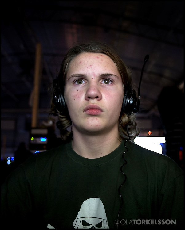 Portraits of participants at the LAN festival Dreamhack in Jonkoping, Sweden. Portraits of people playing the computer game World of Warcraft.<br /> Photo Ola Torkelsson<br /> Copyright Ola Torkelsson ©