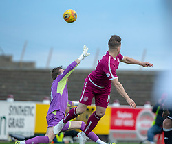 Arbroath's Steven Doris scoring their second goal. Arbroath 3 v 1 Dumbarton, Scottish Football League Division One played 20/10/2018 at Arbroath's home ground, Gayfield Park.