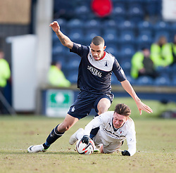 Falkirk's Phil Roberts and Raith Rovers Joe Cardle.<br /> Raith Rovers 2 v 4 Falkirk, Scottish Championship game today at Starks Park.<br /> © Michael Schofield.