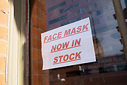 Face masks now in stock in the Jewellery Quarter as people observe the stay at home advice from the government on 7th April 2020 in Birmingham, England, United Kingdom. Coronavirus or Covid-19 is a new respiratory illness that has not previously been seen in humans. While much or Europe has been placed into lockdown, the UK government has announced more stringent rules as part of their long term strategy, and in particular social distancing.