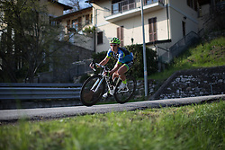 Brianne Walle (Tibco Cycling Team) descends in the second, short lap of Trofeo Alfredo Binda - a 123.3km road race from Gavirate to Cittiglio on March 20, 2016 in Varese, Italy.