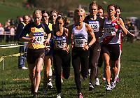 Friidrett. NM terrengløp 2002. Osterøy. 13.04.2002.<br /> 2 km kvinner senior.<br /> Ragnhild Kvarberg fra RenEng vant (143). Kristin Roset fra Gloppen ble nummer to (138). Øvrige løpere: Hanne Lyngstad fra Tjalve (142) ble nummer sju. Rønnaug Schei fra Tyrving (139) ble nummer fire. Janne Gunnarsson fra Vidar (134) ble nummer fem.<br /> Foto: Chris Kyllingmark, Digitalsport