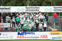 Arena: Gjemselund stadion. Hamkam-supportere. Kongsvinger - Hamkam 1-1. 1. divisjon 2000, 1. juni 2000. (Foto: Peter Tubaas/Fortuna Media AS)