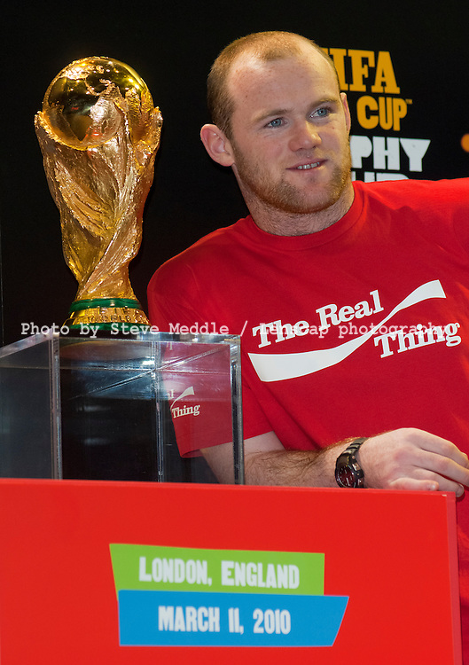 Wayne Rooney with the FIFA World Cup, Earls Court 2, London, Britain - 11 March 2010