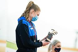 Maja Mihalinec with trophy for best athlete at Slovenian Indoor Championship, Olympic centre Novo Mesto, 13 February 2021, Novo Mesto, Slovenia. Photo by Grega Valancic / Sportida