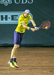 April 13, 2018 - Houston, TX, U.S. - HOUSTON, TX - APRIL 13:  John Isner of the United States hits the return in the match against Steve Johnson of the United States during the Quarterfinal round of the Men's Clay Court Championship on April 13, 2018 at River Oaks Country Club in Houston, Texas.  (Photo by Leslie Plaza Johnson/Icon Sportswire) (Credit Image: © Leslie Plaza Johnson/Icon SMI via ZUMA Press)