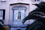 Exterior of Imperial Chapel, Ajaccio, Corsica, France in 1998 - Posuerunt me Custodem latin inscription