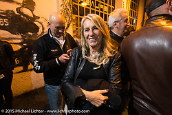 Party at the Motosplash complex with a show opening of Michael Lichter photographs in the Italian Choppers gallery during EICMA, the largest international motorcycle exhibition in the world. Milan, Italy. November 21, 2015.  Photography ©2015 Michael Lichter.