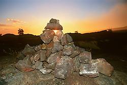 Lava stone monument at Pu`u or Puu Loa Petrogryph Trail, Hawaii Volcanoes National Park, Kilauea, Big Island, Hawaii