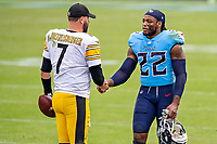 NASHVILLE, TN - OCTOBER 25:  Ben Roethlisberger #7 of the Pittsburgh Steelers shakes hands after the game with Derrick Henry #22 of the Tennessee Titans at Nissan Stadium on October 25, 2020 in Nashville, Tennessee.  The Steelers defeated the Titans 27-24.  (Photo by Wesley Hitt/Getty Images) *** Local Caption *** Ben Roethlisberger; Derrick Henry