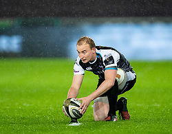 Luke Price of Ospreys lines up a kick at goal<br /> <br /> Photographer Simon King/Replay Images<br /> <br /> Guinness PRO14 Round 6 - Ospreys v Connacht - Saturday 2nd November 2019 - Liberty Stadium - Swansea<br /> <br /> World Copyright © Replay Images . All rights reserved. info@replayimages.co.uk - http://replayimages.co.uk