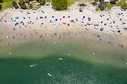 Aerial of Crowded Beach at Dana Point Harbor