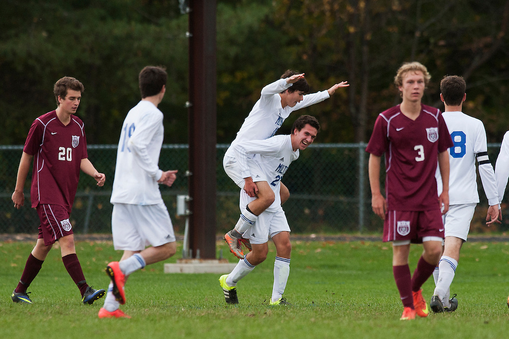 Milton celebrates a goal during the boys soccer game between BFA-Fairfax and Milton at Milton High School on Tuesday afternoon October 20, 2015 in Milton. (BRIAN JENKINS/For the FREE PRESS)