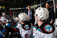 KELOWNA, BC - MARCH 7: Kelowna Rockets' head coach Kris Mallette stands on the bench speaking to players during second period against the Lethbridge Hurricanes at Prospera Place on March 7, 2020 in Kelowna, Canada. (Photo by Marissa Baecker/Shoot the Breeze)