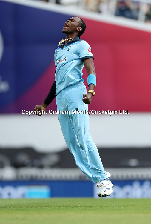Jofra Archer celebrates the wicket of Aiden Markram during the opening Cricket World Cup 2019 match between England and South Africa at The Oval. Photo: Graham Morris / www.photosport.nz