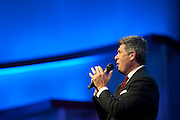 Doran Bugg leads worship during the first service at the new $130 million campus for First Baptist Dallas on Easter Sunday, March 31, 2013. (Cooper Neill/The Dallas Morning News)
