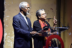 Kofi Annan (left) and Hina Jilani on stage at the Global Citizen Live event held at the 02 Brixton Academy, London.