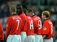 Sol Campbell organises an England wall. England v Germany. Euro 2000. Charleroi, Belgium 17/6/00. Credit: Colorsport.