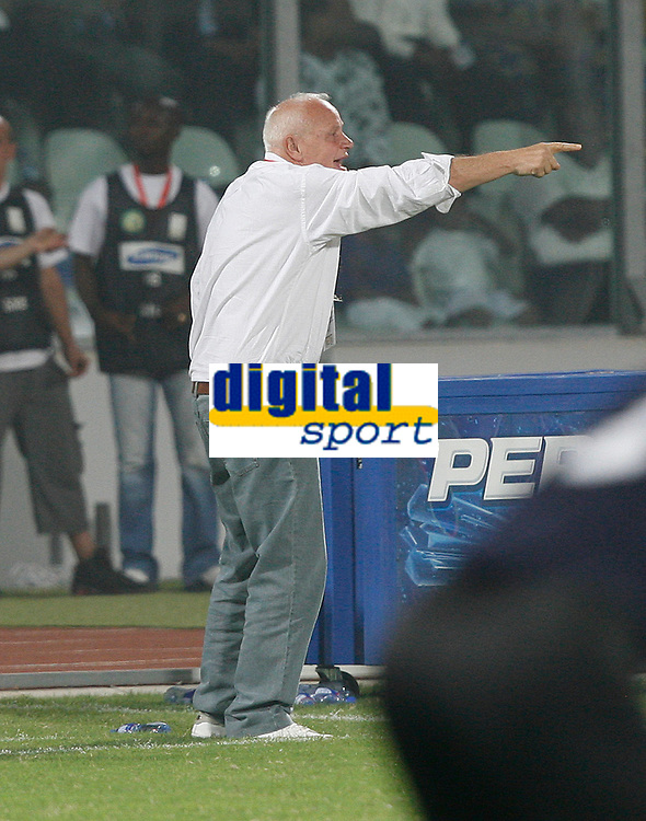 Photo: Steve Bond/Richard Lane Photography.<br />Egypt v Cameroun. Africa Cup of Nations. 22/01/2008. Cameroon Manager Otto Pfister cally for a rally
