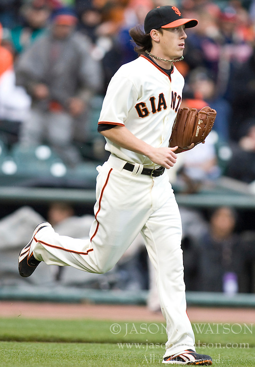 April 11, 2010; San Francisco, CA, USA;  San Francisco Giants starting pitcher Tim Lincecum (55) heads to the mound during the first inning against the Atlanta Braves at AT&T Park. San Francisco defeated Atlanta 6-3.