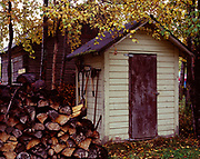 Historic outhouse from Springer Loop Road near Palmer and preserved on LeRoi and Margaret Heaven's property, Matanuska Valley, Alaska,