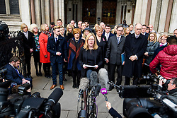 © Licensed to London News Pictures. 28/02/2017. London, UK. A solicitor representing family members and survivors of the Tunisia terror attack speaks to the media as relatives leave the Royal Courts of Justice in London where Judge Nicholas Loraine-Smith handed down a ruling on the cause of death of 30 Britons gunned down by Seifeddine Rezgui, on a beach in Sousse, Tunisia.  Photo credit: Ben Cawthra/LNP