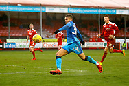 Grimsby Town forward Charles Vernam (34) has a shot on goal during the EFL Sky Bet League 2 match between Crawley Town and Grimsby Town FC at the Checkatrade.com Stadium, Crawley, England on 10 February 2018. Picture by Andy Walter.