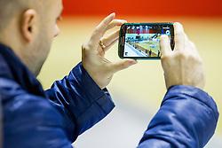 Lojze Grcman taking a picture before handball match between RK Gorenje Velenje (SLO) and Team Tvis Holstebro (DEN) in 3rd Qualification round of EHF European Cup 2015/16, on November 22, 2014, Rdeca dvorana, Velenje, Slovenia. Photo by Urban Urbanc / Sportida