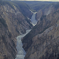 Lower Yellowstone Falls pours into Grand Canyon of Yellowstone River.