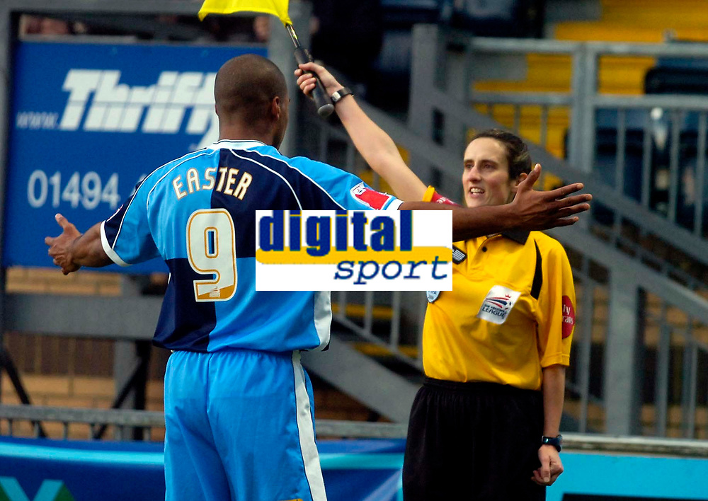 Photo: Alan Crowhurst.<br />Wycombe Wanderers v Grimsby Town. Coca Cola League 2. 18/11/2006. Referee's assistant Amy Rayner (R).