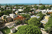 Key West, Florida, aerial, lighthouse, view, cottages, birds eye, above, landscape, old town, colorful, color, ocean, high, angle,